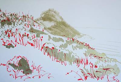 Drawing - Hill At Worbarrow Bay Dorset by Mike Jory