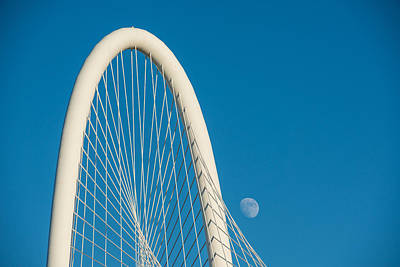 Architectural Photograph - Margaret Hunt Hill Bridge With Day Moon by Tod and Cynthia Grubbs