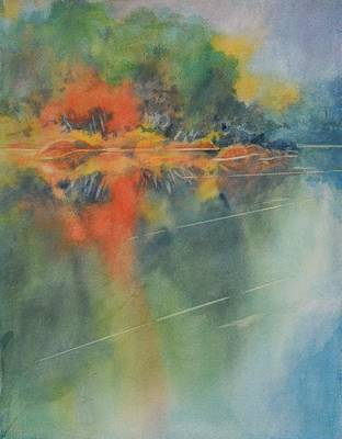 Tree Reflection Painting - Hill Country Abstract No 3 by Virgil Carter