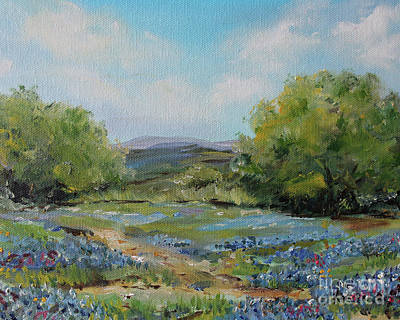 Painting - Hill Country Bluebonnets by Kristine Kainer