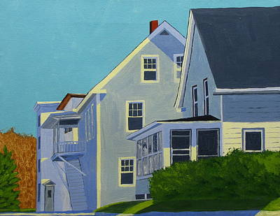 Maine Landscape Painting - Hill Houses by Laurie Breton