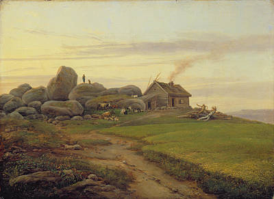 Log Cabin Painting - Hill Top by Heinrich Stuhlmann