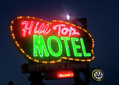 Neon Photograph - Hill Top Motel by Matthew Bamberg