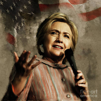 Democrat Mixed Media Painting - Hillary Clinton 02 by Gull G