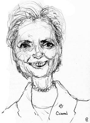 Caricature Drawing - Hillary Clinton by Cameron Hampton PSA