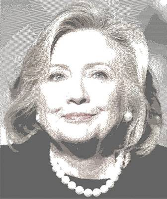 Painting - Hillary Clinton - Cross Hatching by Samuel Majcen