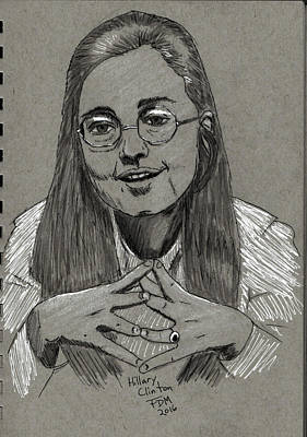 Drawing - Hillary Clinton by Frank Middleton