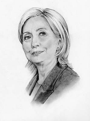 Politicians Drawings - Hillary Clinton Pencil Portrait by Joyce Geleynse