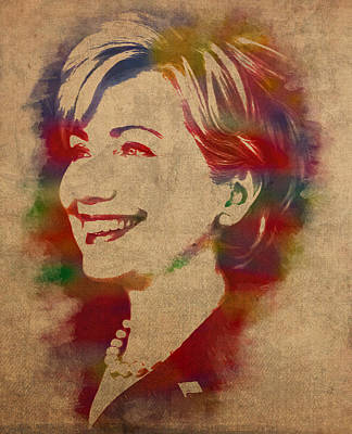 Hillary Clinton Mixed Media - Hillary Rodham Clinton Watercolor Portrait by Design Turnpike