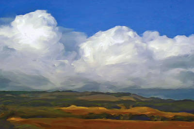 Hills And Clouds Art Print by Thomas  Hansen