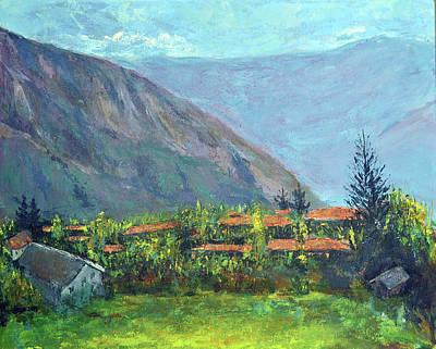 Bhutan Painting - Hills And Valleys by Uma Krishnamoorthy