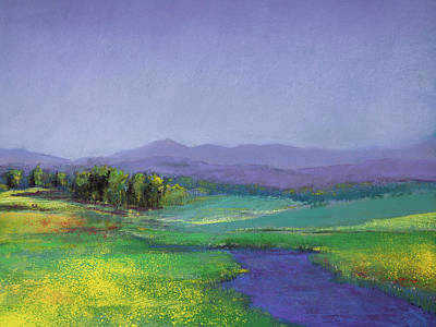Impressionistic Pastel - Hills In Bloom by David Patterson
