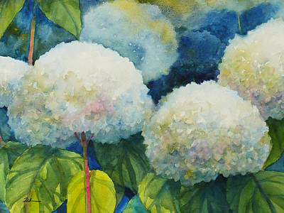 Painting - Hills Of Snow Hydrangeas 3 by Janet Zeh
