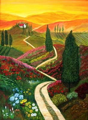 Tuscan Sunset Painting - Hills Of Tuscany by Anke Wheeler