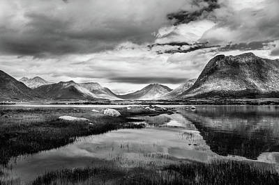 Mountain Reflection Lake Summit Mirror Photograph - Hills Of Vesteralen by Dmytro Korol