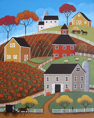 Autumn Folk Art Painting - Hillside Barns by Mary Charles