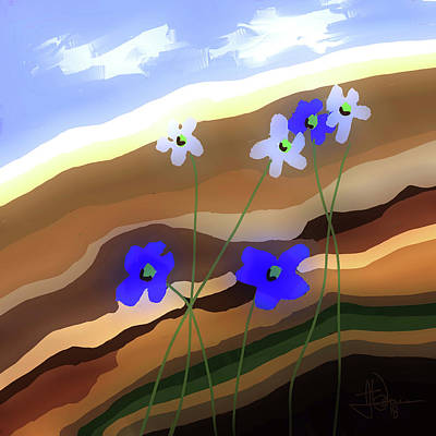 Digital Art - Hillside Flowers by Jim Vance