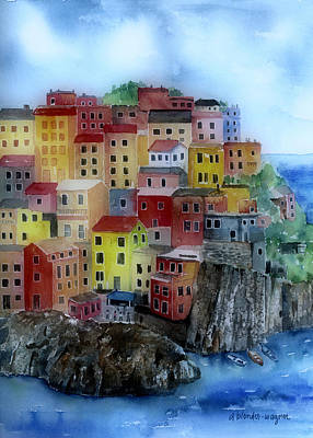 City Scape Painting - Hillside Homes by Arline Wagner