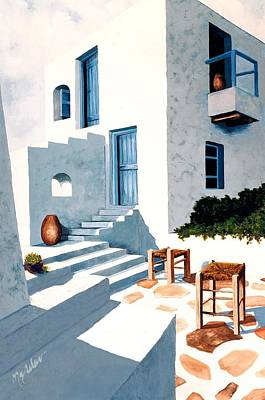 Bougainvillea Painting - Mykonos, Hillside House - Prints Of Original Oil Painting by Mary Grden Fine Art Oil Painter Baywood Gallery