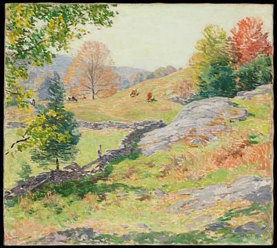 Pasture Painting - Hillside Pastures by Willard Metcalf