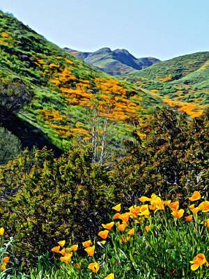 Digital Art - Hillside Poppies - Impressions One by Glenn McCarthy Art