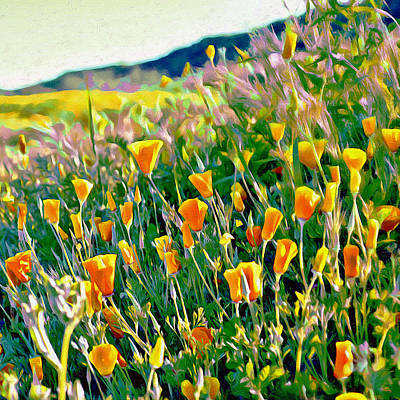 Digital Art - Hillside Poppies - Impressions Three by Glenn McCarthy Art