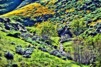 Digital Art - Hillside Poppies - Impressions Two by Glenn McCarthy Art