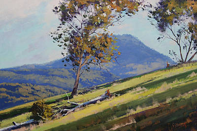 Impressionistic Landscape Painting - Hillside Shadows by Graham Gercken
