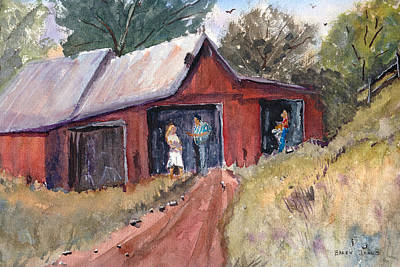 Red Barns Drawing - Hillside Talk - Rural Barn - Landscape by Barry Jones