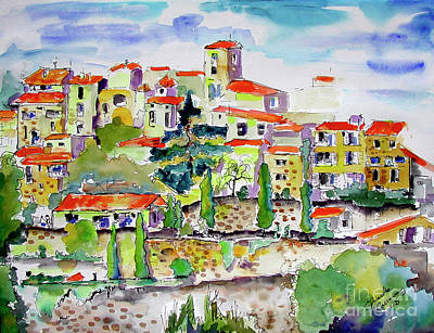 Hillside Village In Provence Art Print by Ginette Callaway