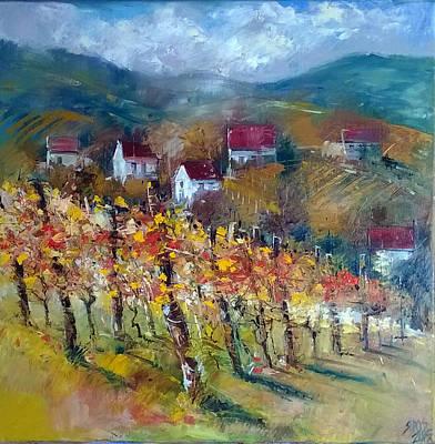 Wine Painting - Hillside Vineyard  by Lorand Sipos