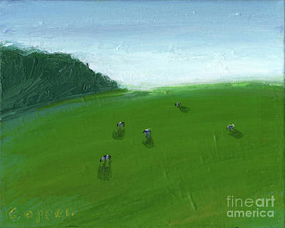 Painting - Hillside Vista With Cows by Robert Coppen
