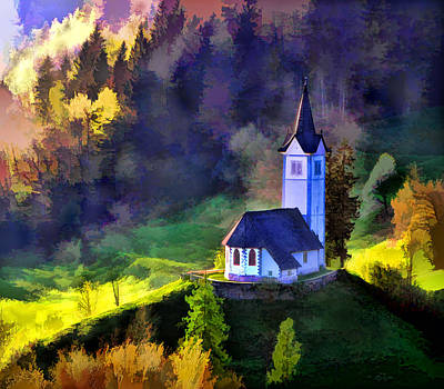 Computer Art Painting - Hilltop Church In Misty Mountain Forest by Elaine Plesser