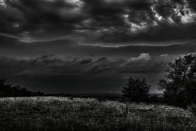 Photograph - Hilltop Storm Front Black And White by Dale Kauzlaric