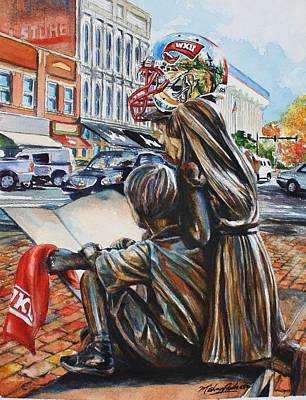 Sports Paintings - Hilltopper Fans in Fountain Square by Misha Ambrosia