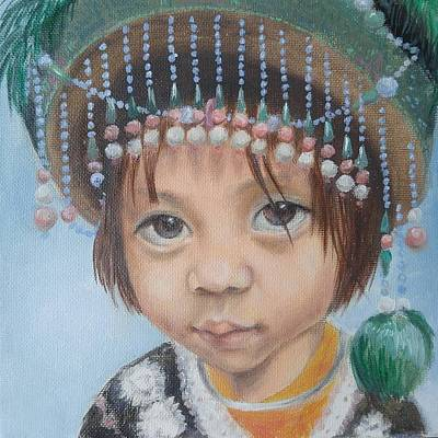 Hilltribe Painting - Hilltribe Girl In Green by Adelina Kuzmina