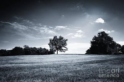 Hilly Black White Landscape Art Print