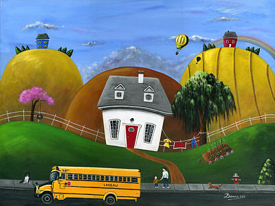 School Bus Painting - Hilly Homework by Brianna Mulvale