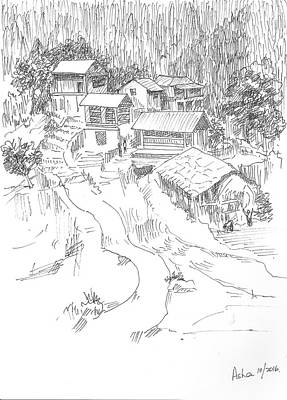 Drawing - Hilly Houses by Asha Sudhaker Shenoy