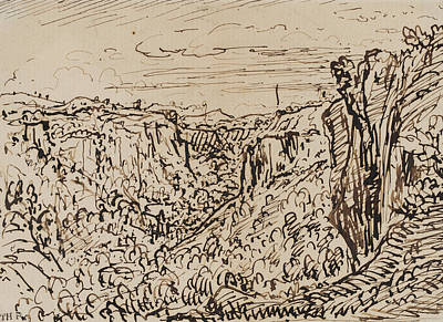 Landscape Drawing - Hilly Landscape by Theodore Roussel