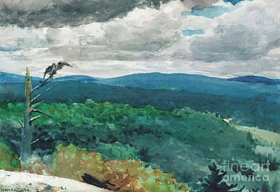 Rainy Painting - Hilly Landscape by Winslow Homer