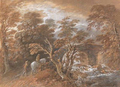 Painting - Hilly Landscape With Figures Approaching A Bridge by Thomas Gainsborough