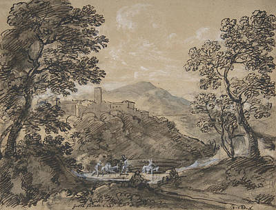 Drawing - Hilly Landscape With Travellers by Johann Georg von Dillis