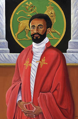 Jamaican Painting - Him Emperor Haile Selassie I by Kavion Robinson