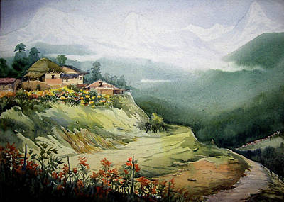 Himalaya Village Landscape Art Print