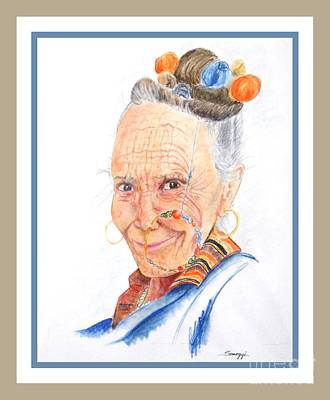 Himalayan Smile Lines -- Portrait Of Old Asian Woman Original by Jayne Somogy