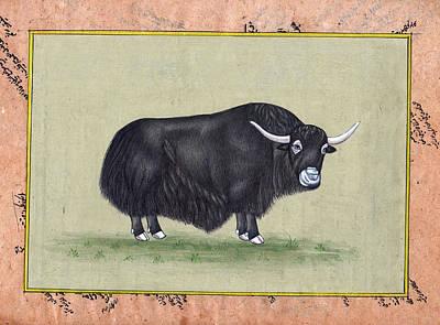 Antique Miniature Painting - Himalayan Yaak India Antique Miniature Painting Artwork Art Gallery Animal Portrait  by A K Mundra