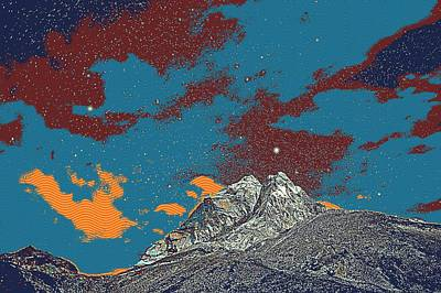 Park Scene Painting - Himalayas Mountains Sky Clouds Stars Night Sunset by Celestial Images