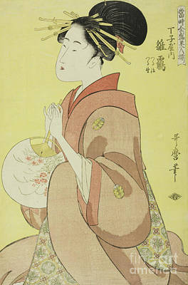 Painting - Hinazuru Of The Chojiya, Whose Attendants Are Tsuruji And Tsuruno by Kitagawa Utamaro