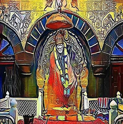 Baba Digital Art - Hindu God Shirdi Sai Baba Idol In Hindu Temple. Sai Baba Was An Indian Spiritual Master Who Was And  by Viktor Lebeda